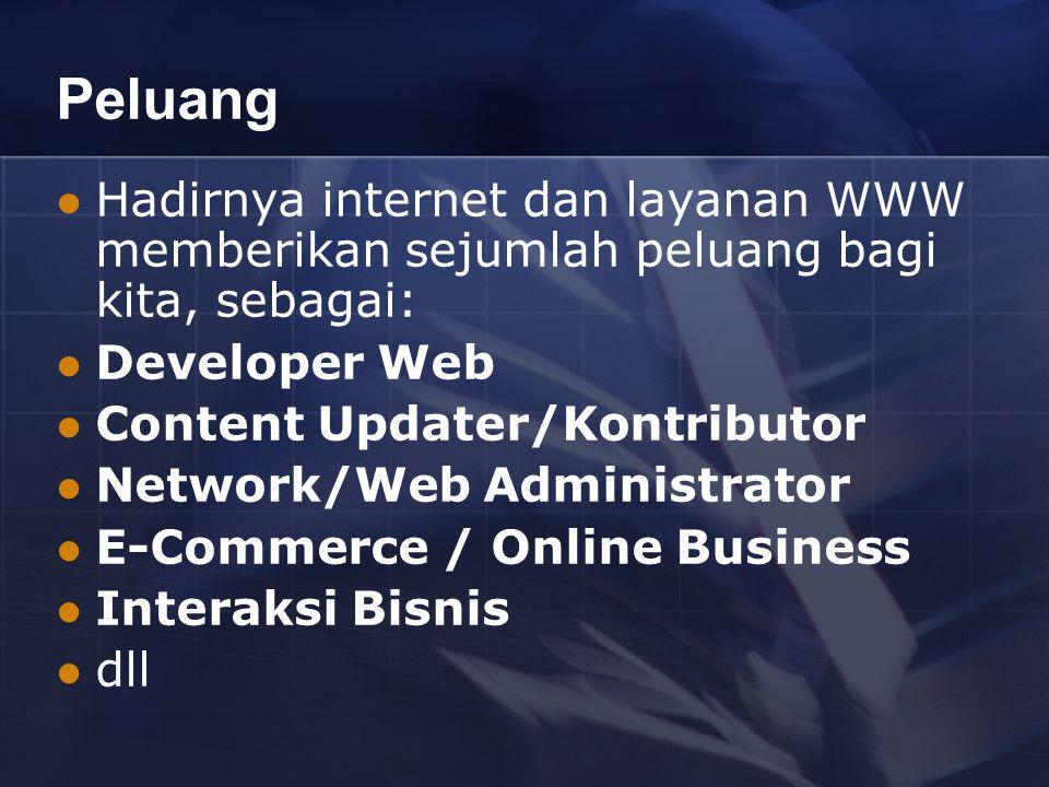 Peluang Hadirnya internet dan layanan WWW memberikan sejumlah peluang bagi kita, sebagai: Developer Web Content Updater/Kontributor Network/Web Administrator E-Commerce / Online Business Interaksi Bisnis dll
