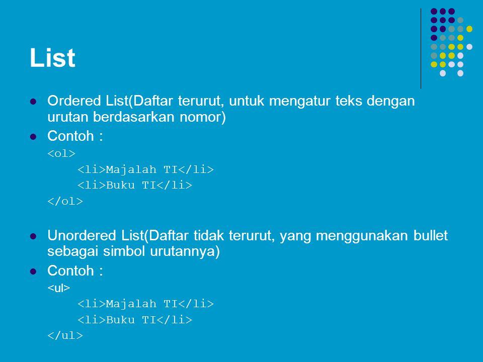 List Ordered List(Daftar terurut, untuk mengatur teks dengan urutan berdasarkan nomor) Contoh : Majalah TI Buku TI Unordered List(Daftar tidak terurut, yang menggunakan bullet sebagai simbol urutannya) Contoh : Majalah TI Buku TI