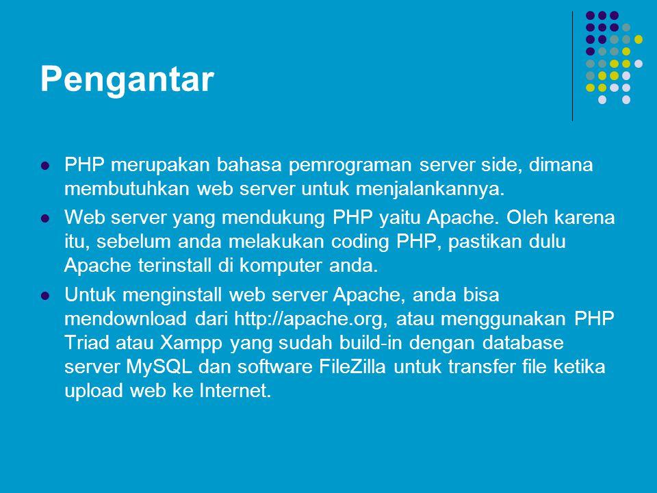 Pengantar PHP merupakan bahasa pemrograman server side, dimana membutuhkan web server untuk menjalankannya. Web server yang mendukung PHP yaitu Apache