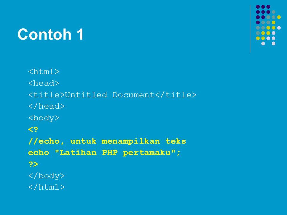 Contoh 1 Untitled Document <? //echo, untuk menampilkan teks echo