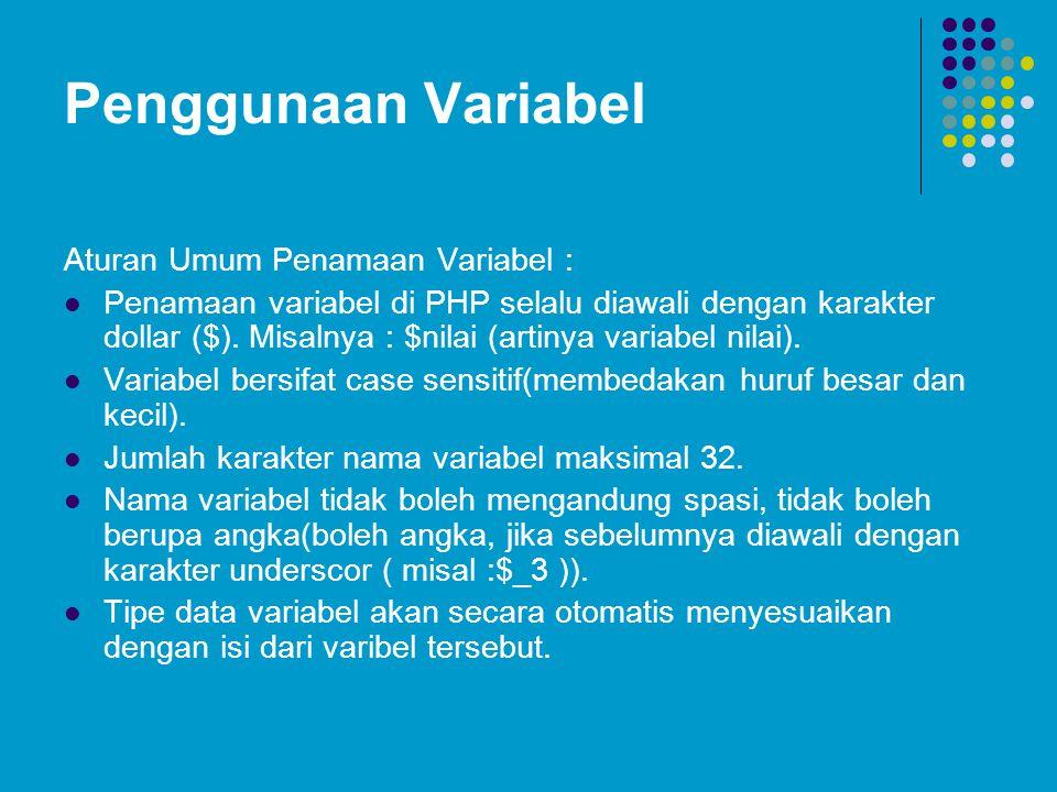 Penggunaan Variabel Aturan Umum Penamaan Variabel : Penamaan variabel di PHP selalu diawali dengan karakter dollar ($). Misalnya : $nilai (artinya var