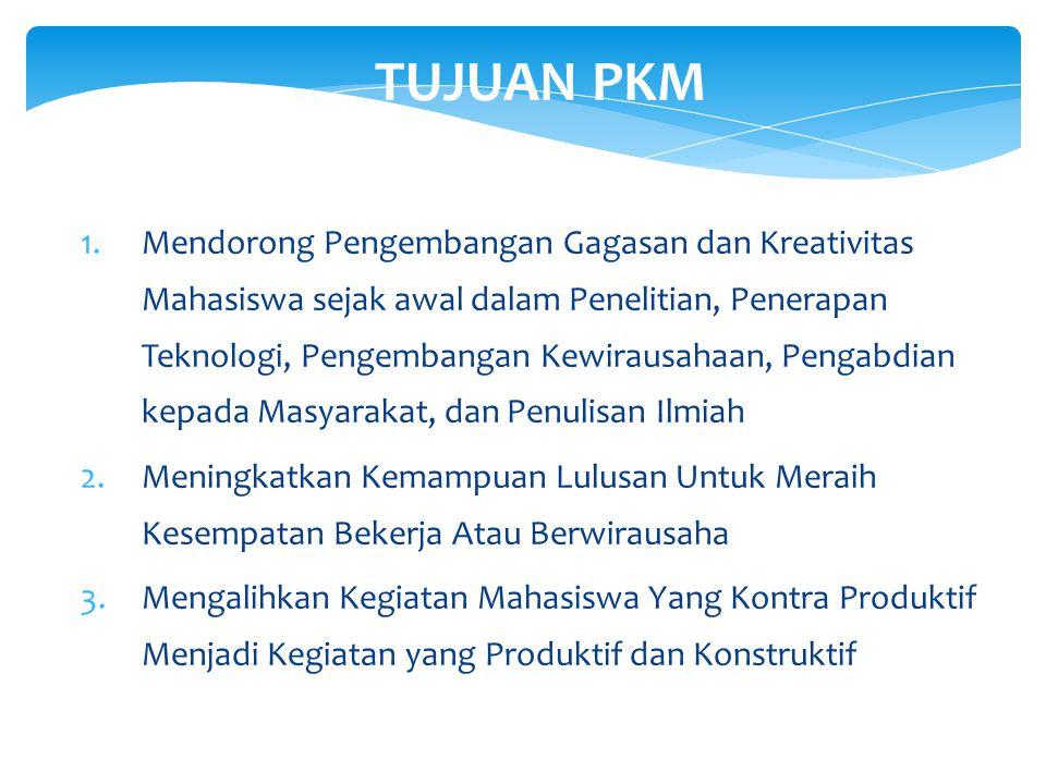 Program Kreativitas Mahasiswa LATAR BELAKANG PROGRAM KREATIVITAS MAHASISWA (PKM) 1.Kesenjangan yang relatif besar antara waktu kelulusan dengan waktu