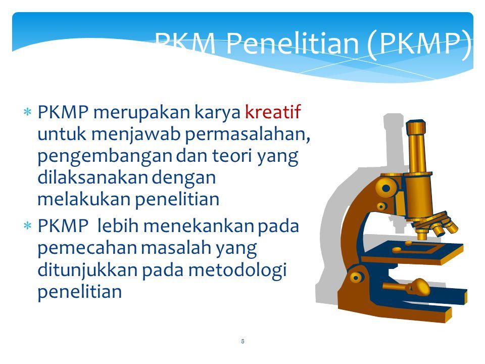 Pengelompokan Bidang Ilmu PKM 1.Bidang Kesehatan, yang meliputi: Farmasi, Gizi, Kebidanan, Kedokteran, Kedokteran Gigi, Keperawatan, Kesehatan Masyara