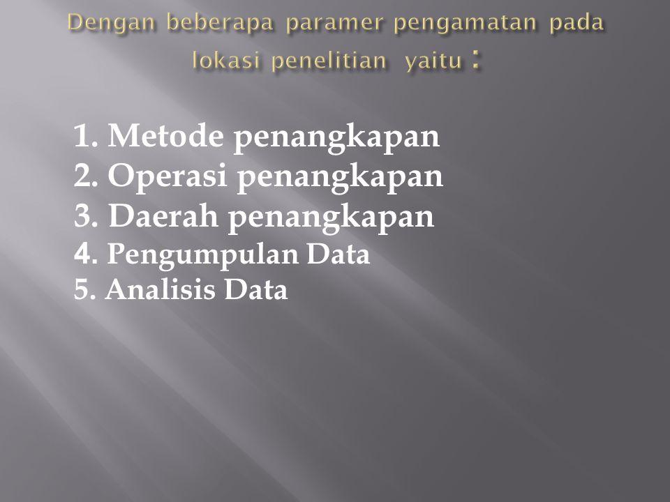1. Metode penangkapan 2. Operasi penangkapan 3. Daerah penangkapan 4. Pengumpulan Data 5. Analisis Data