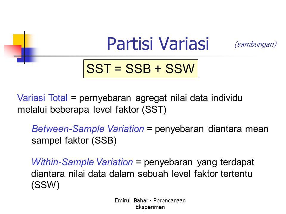 Emirul Bahar - Perencanaan Eksperimen Partisi Variasi Variasi Total = pernyebaran agregat nilai data individu melalui beberapa level faktor (SST) Within-Sample Variation = penyebaran yang terdapat diantara nilai data dalam sebuah level faktor tertentu (SSW) Between-Sample Variation = penyebaran diantara mean sampel faktor (SSB) SST = SSB + SSW (sambungan)