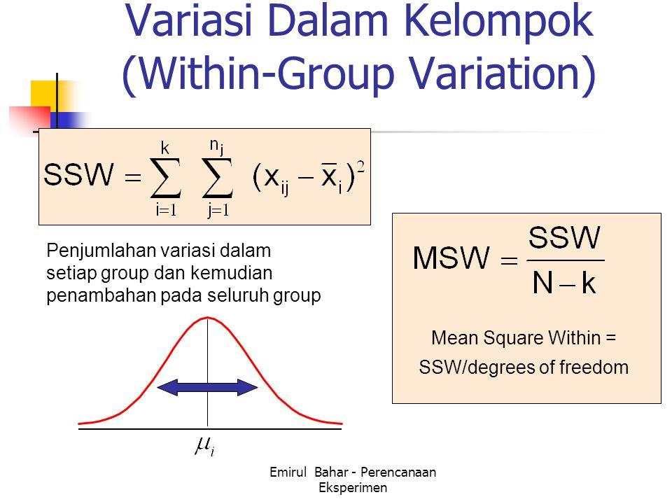 Emirul Bahar - Perencanaan Eksperimen Variasi Dalam Kelompok (Within-Group Variation) Penjumlahan variasi dalam setiap group dan kemudian penambahan pada seluruh group Mean Square Within = SSW/degrees of freedom