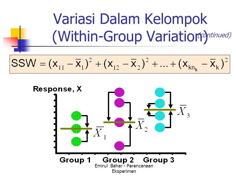 Emirul Bahar - Perencanaan Eksperimen Variasi Dalam Kelompok (Within-Group Variation) (continued)