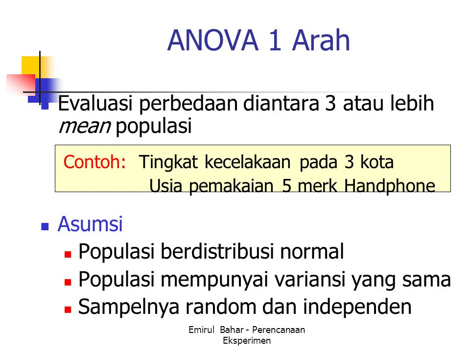 Emirul Bahar - Perencanaan Eksperimen ANOVA 1 Arah Evaluasi perbedaan diantara 3 atau lebih mean populasi Contoh: Tingkat kecelakaan pada 3 kota Usia pemakaian 5 merk Handphone Asumsi Populasi berdistribusi normal Populasi mempunyai variansi yang sama Sampelnya random dan independen