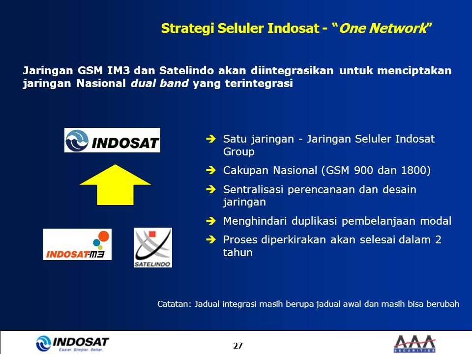 """27 Strategi Seluler Indosat - """"One Network"""" Jaringan GSM IM3 dan Satelindo akan diintegrasikan untuk menciptakan jaringan Nasional dual band yang teri"""