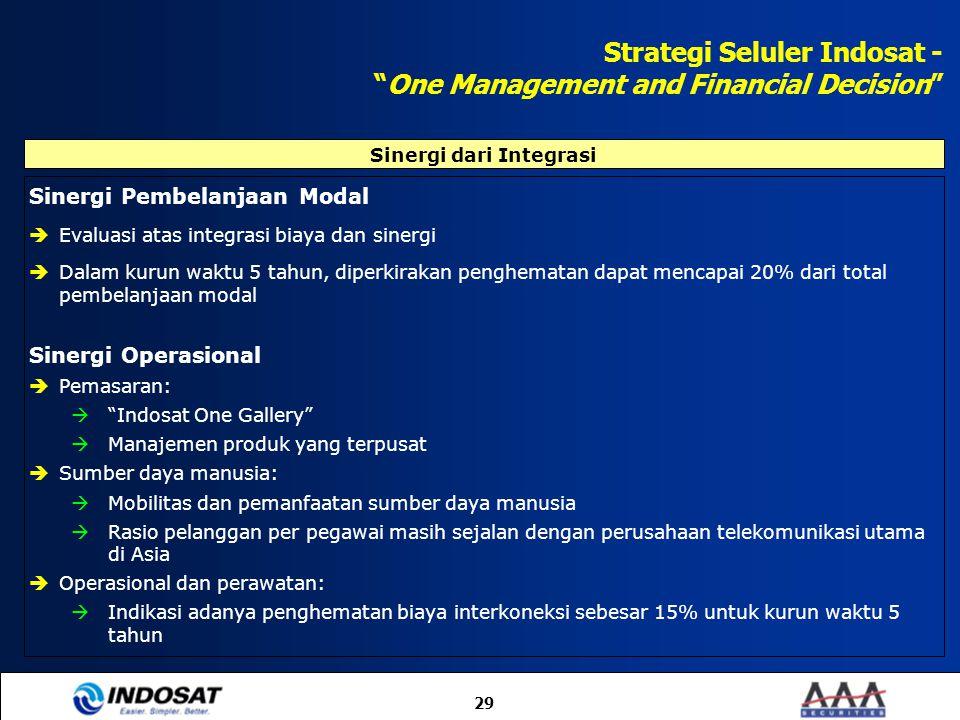 """29 Strategi Seluler Indosat - """"One Management and Financial Decision"""" Sinergi Pembelanjaan Modal  Evaluasi atas integrasi biaya dan sinergi  Dalam k"""