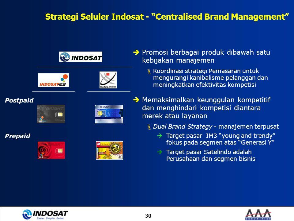 """30 Strategi Seluler Indosat - """"Centralised Brand Management"""" Postpaid Prepaid  Promosi berbagai produk dibawah satu kebijakan manajemen  Koordinasi"""