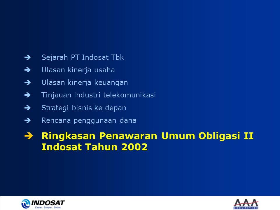 Sejarah PT Indosat Tbk  Ulasan kinerja usaha  Ulasan kinerja keuangan  Tinjauan industri telekomunikasi  Strategi bisnis ke depan  Rencana peng