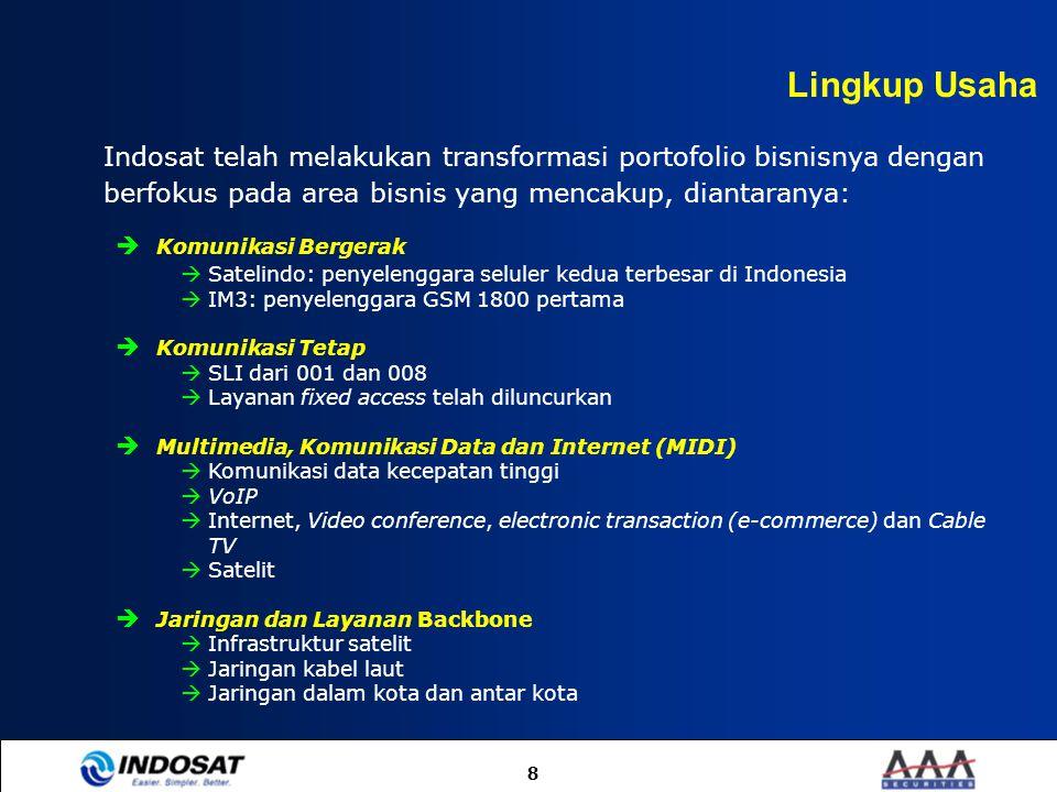 8 Indosat telah melakukan transformasi portofolio bisnisnya dengan berfokus pada area bisnis yang mencakup, diantaranya:  Komunikasi Bergerak  Satel