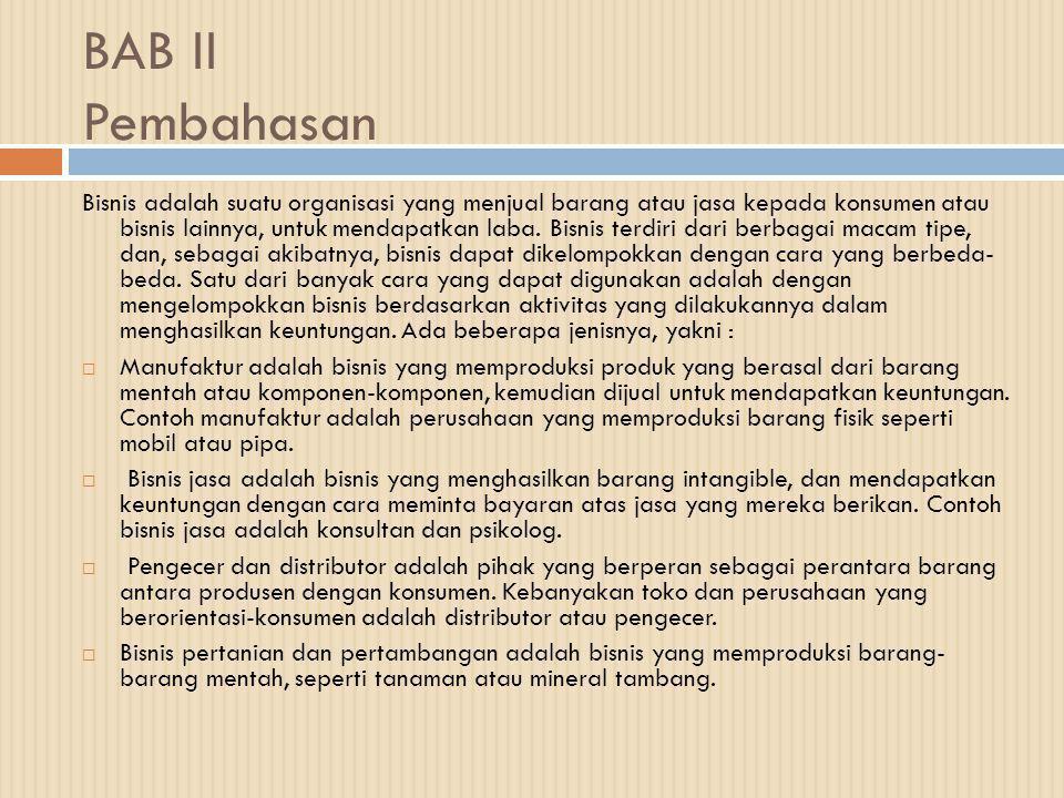 BAB II Pembahasan Bisnis adalah suatu organisasi yang menjual barang atau jasa kepada konsumen atau bisnis lainnya, untuk mendapatkan laba.