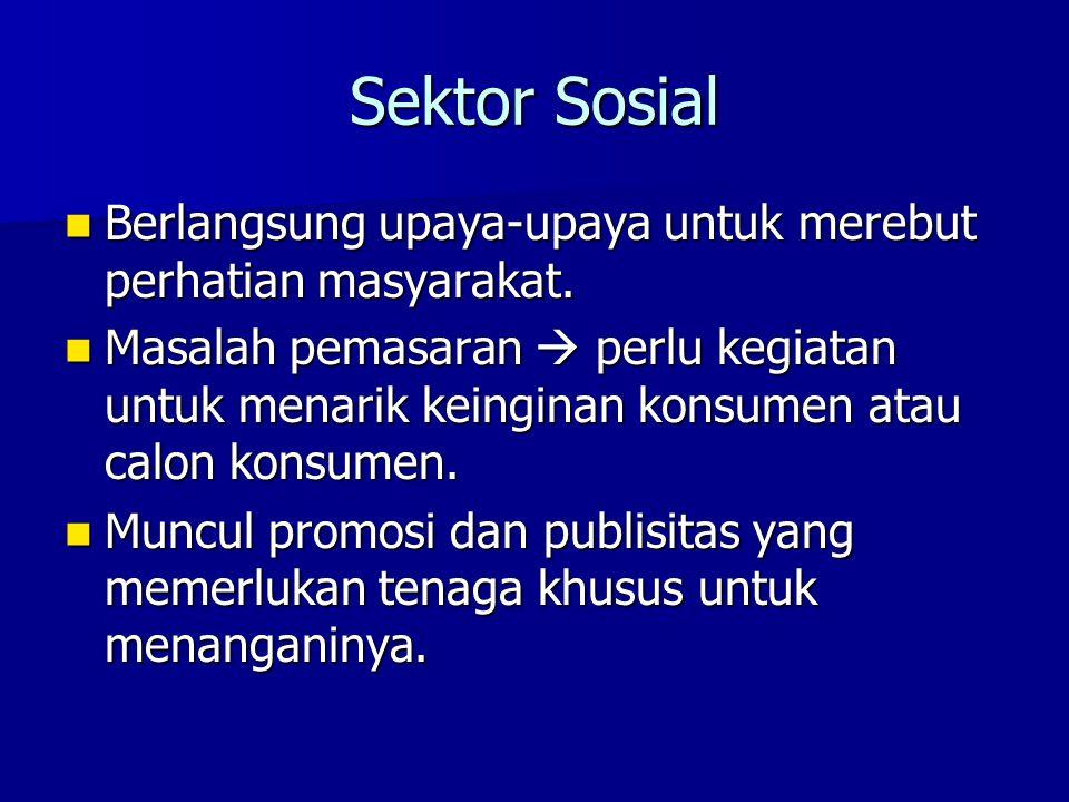 Sektor Sosial Berlangsung upaya-upaya untuk merebut perhatian masyarakat. Berlangsung upaya-upaya untuk merebut perhatian masyarakat. Masalah pemasara