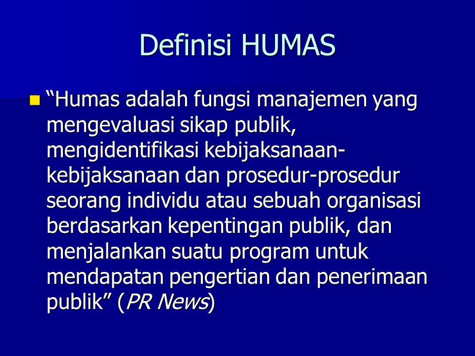 """Definisi HUMAS """"Humas adalah fungsi manajemen yang mengevaluasi sikap publik, mengidentifikasi kebijaksanaan- kebijaksanaan dan prosedur-prosedur seor"""
