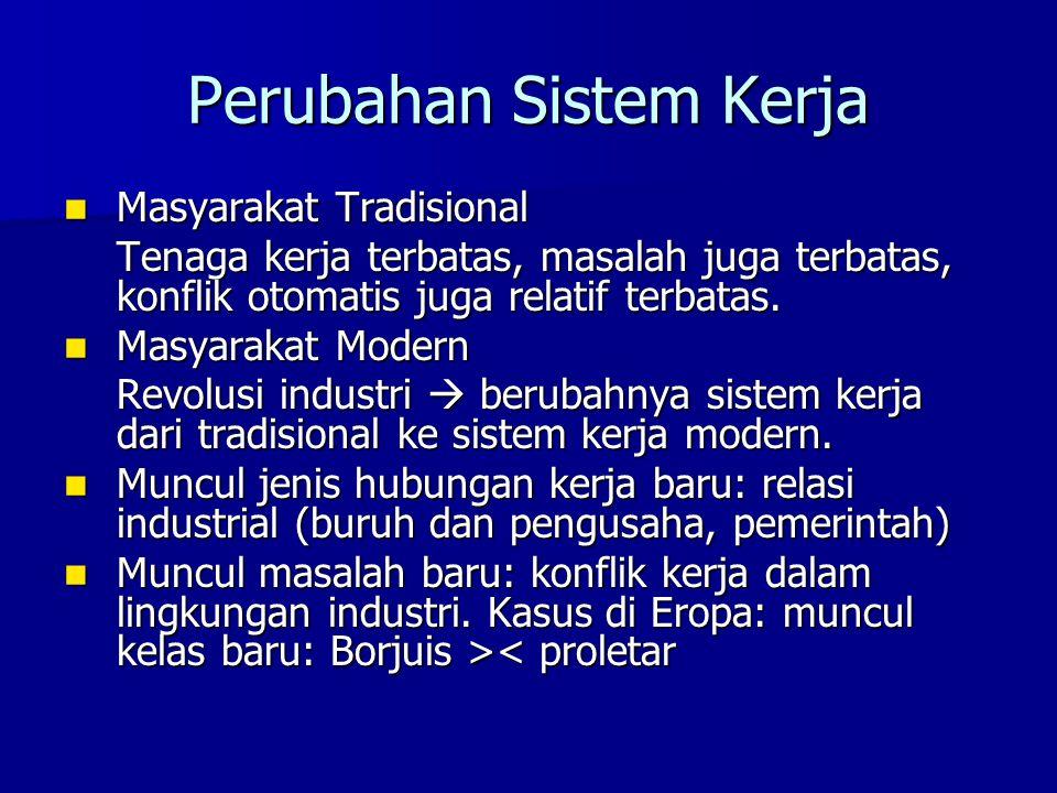 Perubahan Sistem Kerja Masyarakat Tradisional Masyarakat Tradisional Tenaga kerja terbatas, masalah juga terbatas, konflik otomatis juga relatif terba