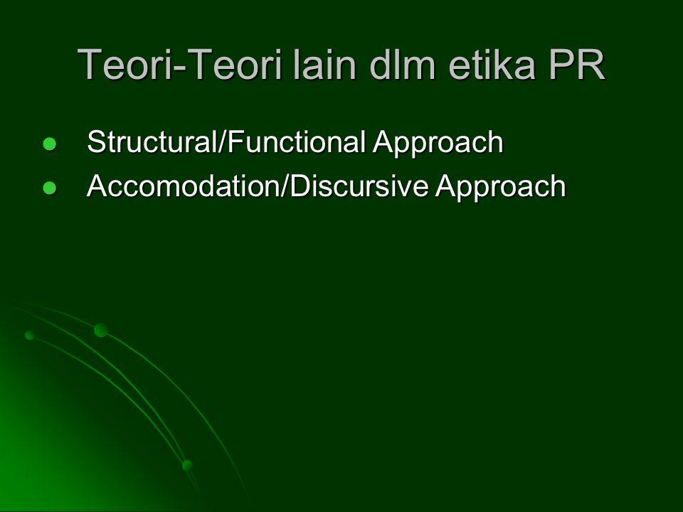 Teori-Teori lain dlm etika PR Structural/Functional Approach Structural/Functional Approach Accomodation/Discursive Approach Accomodation/Discursive Approach