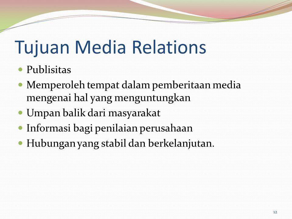 Tujuan Media Relations Publisitas Memperoleh tempat dalam pemberitaan media mengenai hal yang menguntungkan Umpan balik dari masyarakat Informasi bagi