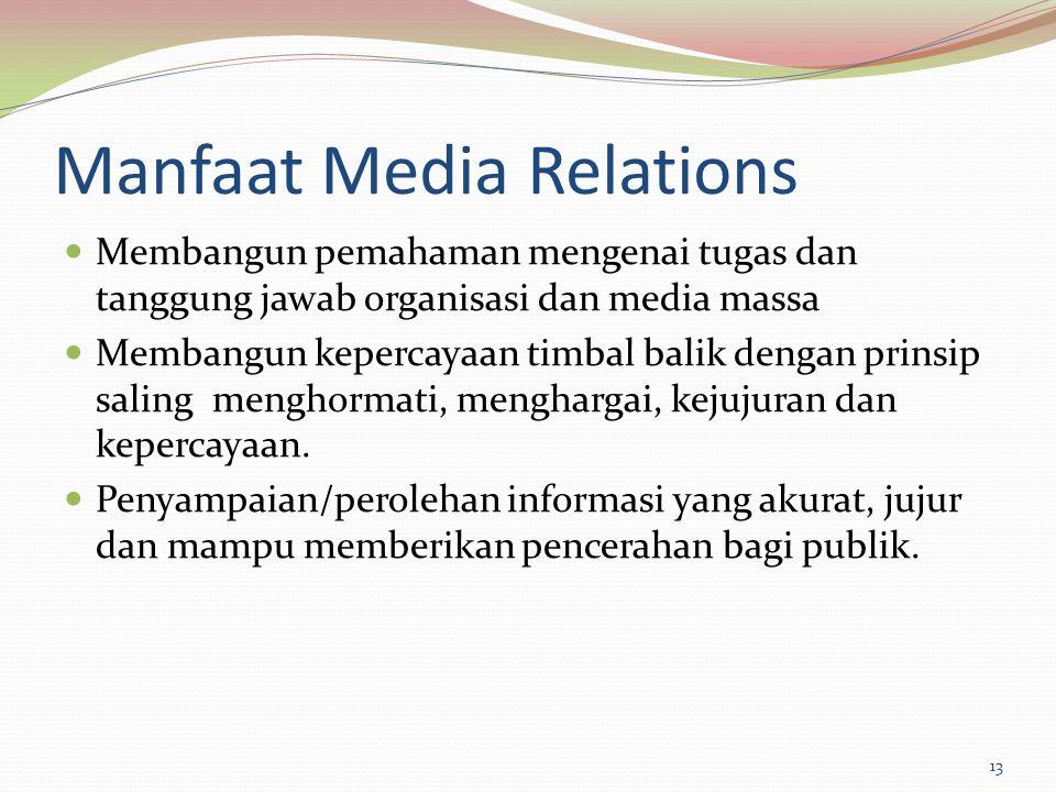 Manfaat Media Relations Membangun pemahaman mengenai tugas dan tanggung jawab organisasi dan media massa Membangun kepercayaan timbal balik dengan pri