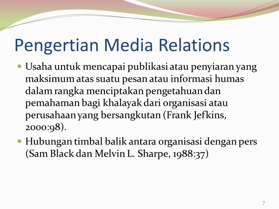 Pengertian Media Relations Usaha untuk mencapai publikasi atau penyiaran yang maksimum atas suatu pesan atau informasi humas dalam rangka menciptakan