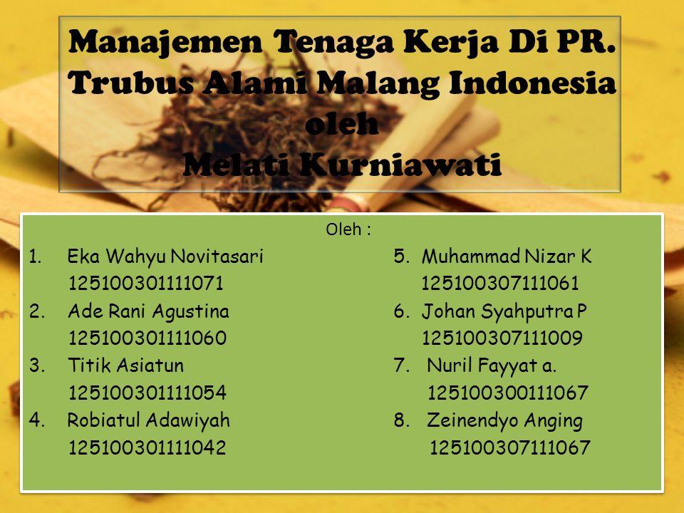 Manajemen Tenaga Kerja Di PR. Trubus Alami Malang Indonesia oleh Melati Kurniawati Oleh : 1.Eka Wahyu Novitasari 5. Muhammad Nizar K 125100301111071 1