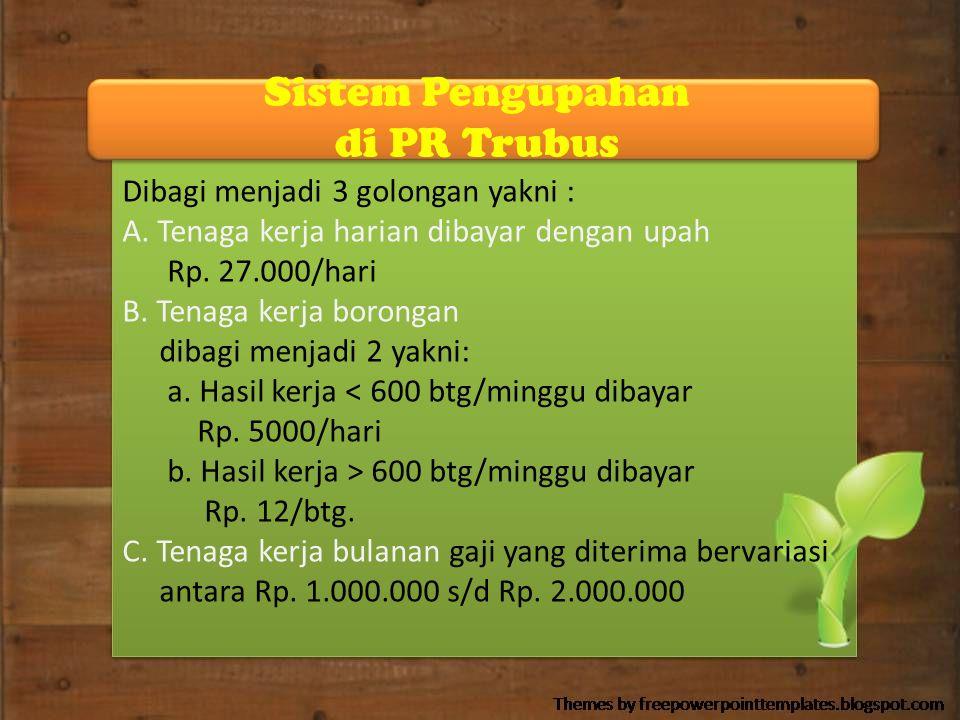 Sistem Pengupahan di PR Trubus Dibagi menjadi 3 golongan yakni : A. Tenaga kerja harian dibayar dengan upah Rp. 27.000/hari B. Tenaga kerja borongan d