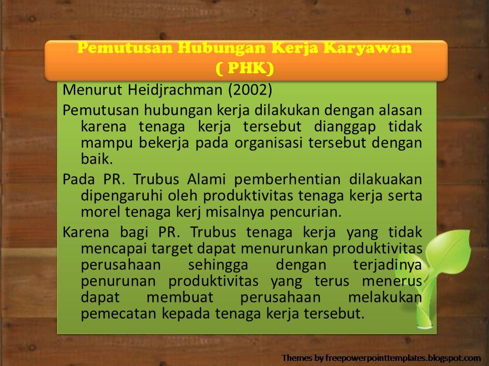 Pemutusan Hubungan Kerja Karyawan ( PHK) Menurut Heidjrachman (2002) Pemutusan hubungan kerja dilakukan dengan alasan karena tenaga kerja tersebut dia