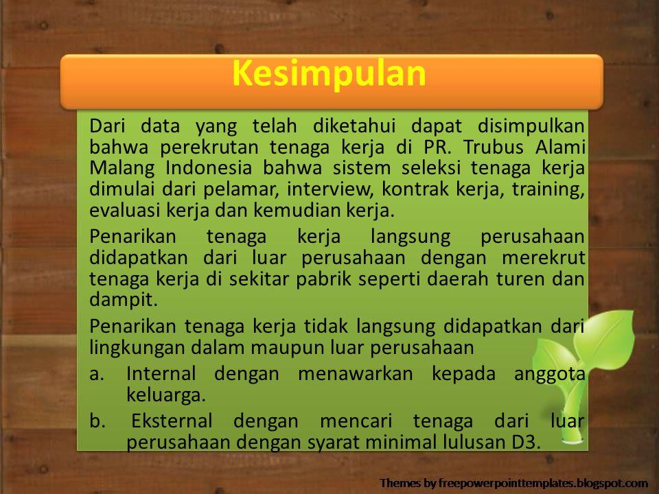 Kesimpulan Dari data yang telah diketahui dapat disimpulkan bahwa perekrutan tenaga kerja di PR. Trubus Alami Malang Indonesia bahwa sistem seleksi te