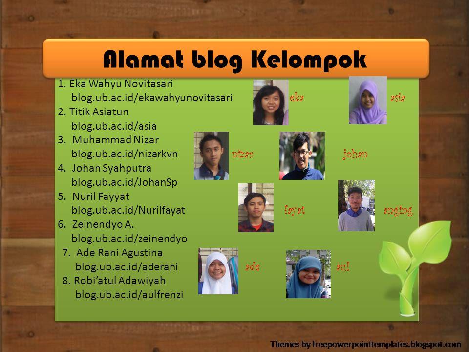 Alamat blog Kelompok 1. Eka Wahyu Novitasari blog.ub.ac.id/ekawahyunovitasari eka asia 2. Titik Asiatun blog.ub.ac.id/asia 3. Muhammad Nizar blog.ub.a