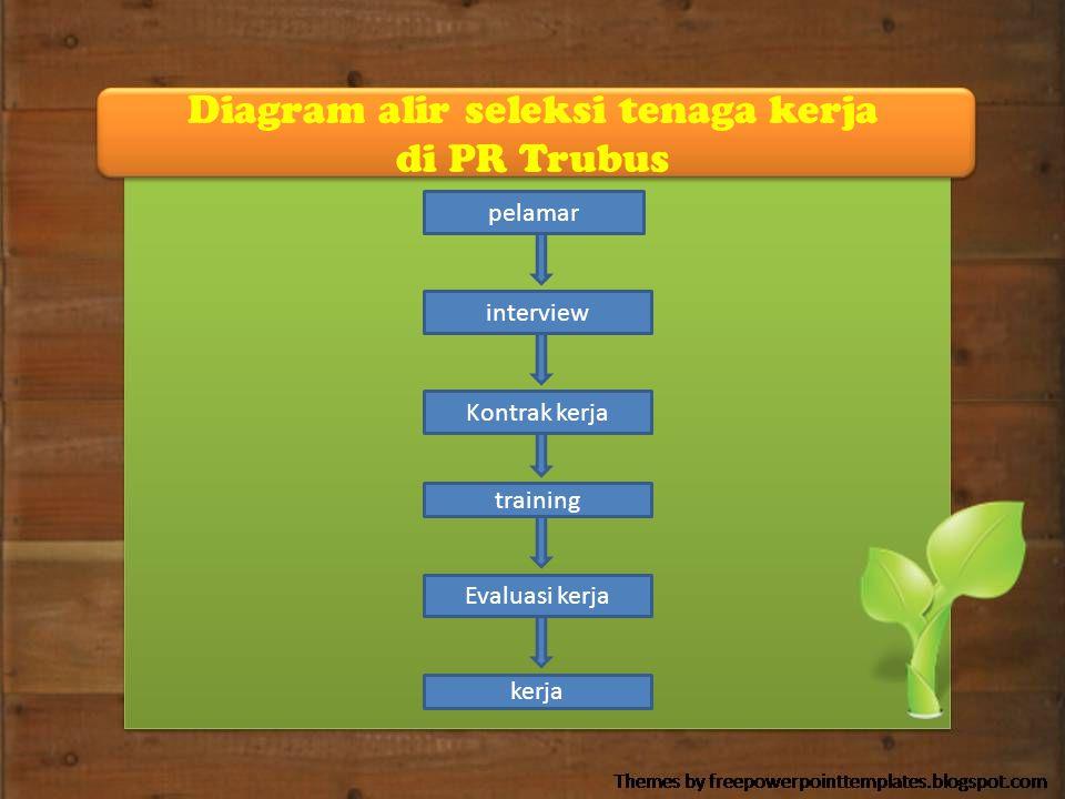 Diagram alir seleksi tenaga kerja di PR Trubus pelamar interview Kontrak kerja training Evaluasi kerja kerja