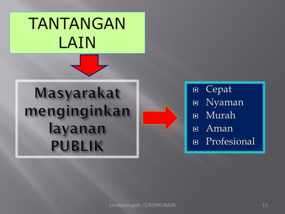  Cepat  Nyaman  Murah  Aman  Profesional Liestianingsih D/KOMUNAIR11 TANTANGAN LAIN