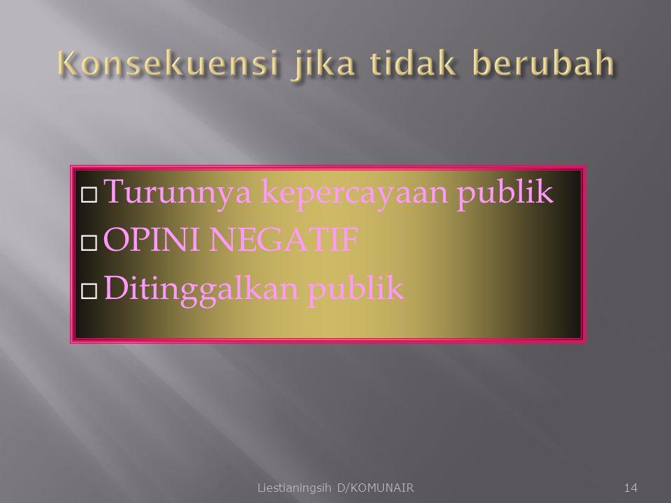  Turunnya kepercayaan publik  OPINI NEGATIF  Ditinggalkan publik Liestianingsih D/KOMUNAIR14