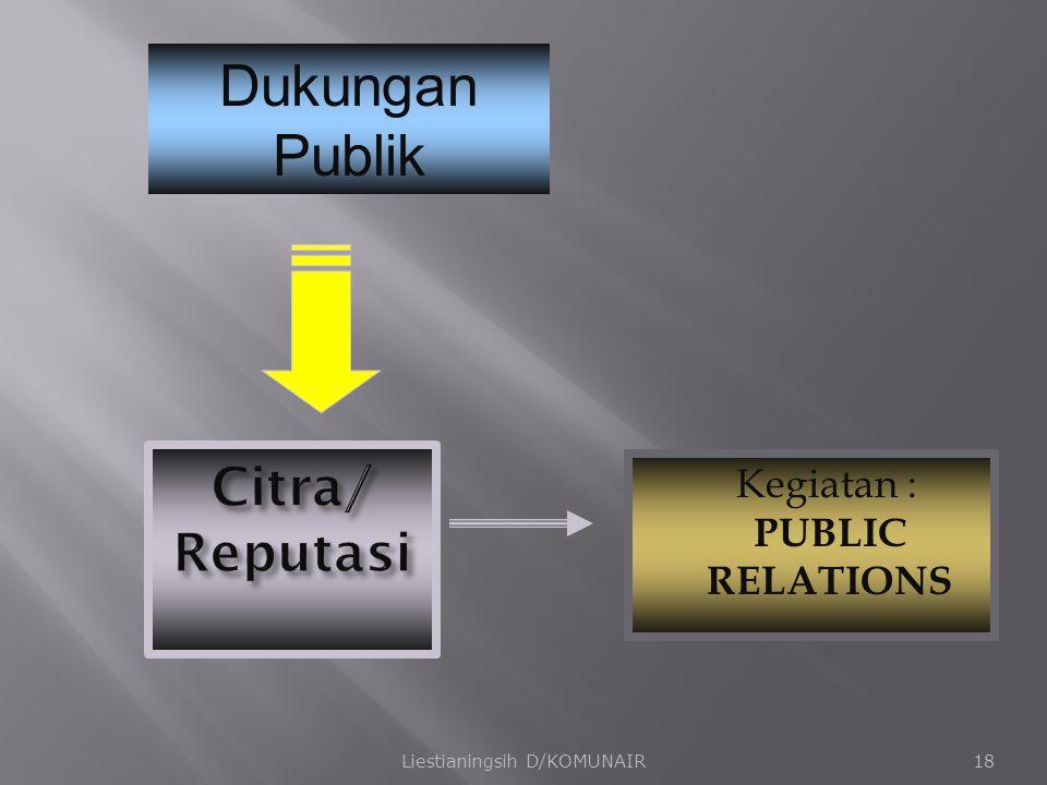 Kegiatan : PUBLIC RELATIONS Liestianingsih D/KOMUNAIR18 Dukungan Publik