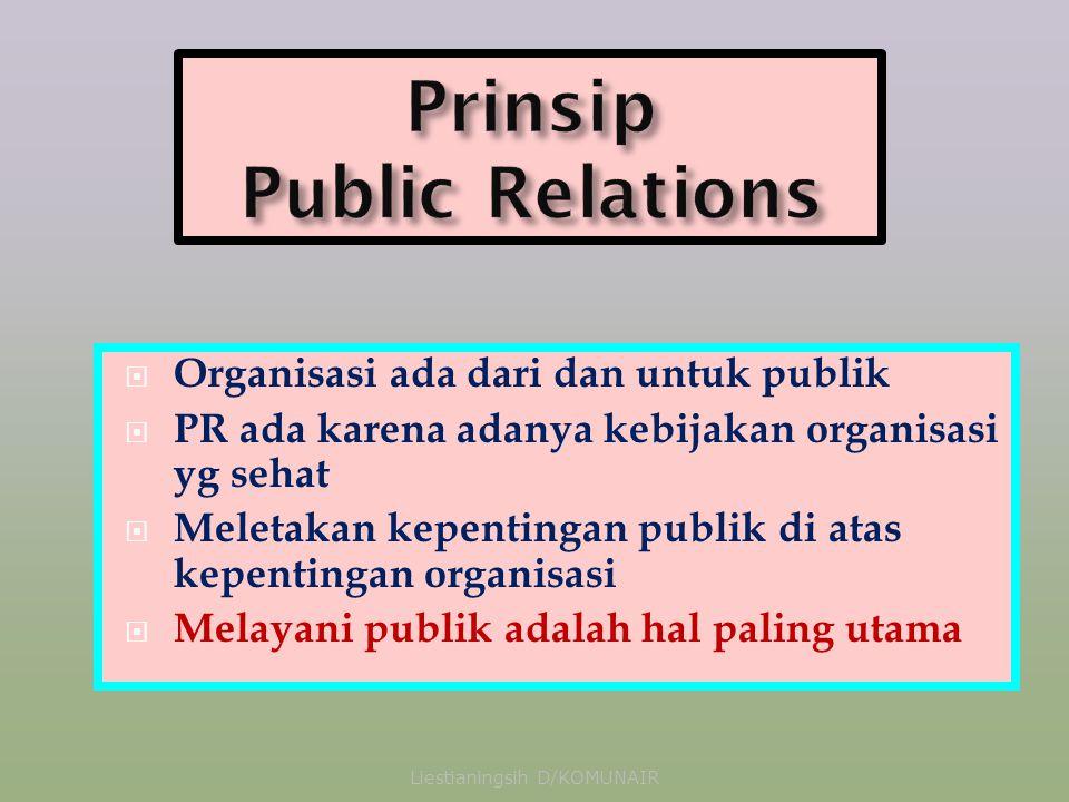  Organisasi ada dari dan untuk publik  PR ada karena adanya kebijakan organisasi yg sehat  Meletakan kepentingan publik di atas kepentingan organisasi  Melayani publik adalah hal paling utama Liestianingsih D/KOMUNAIR