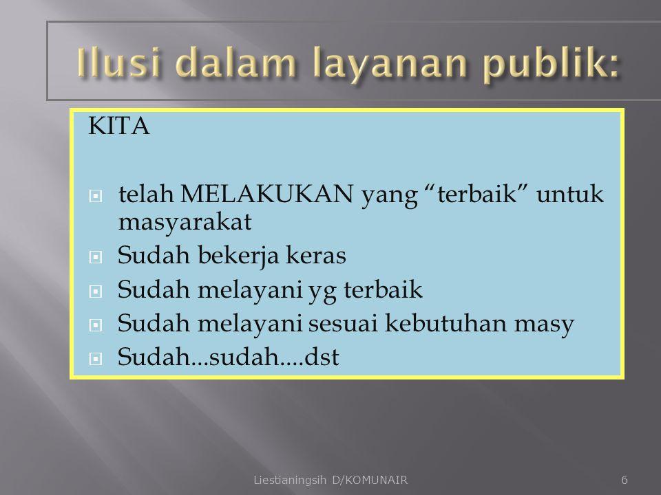  Membutuhkan dukungan publik  Organisasi akan mati/ tdk berfungsi tanpa publik Liestianingsih D/KOMUNAIR17