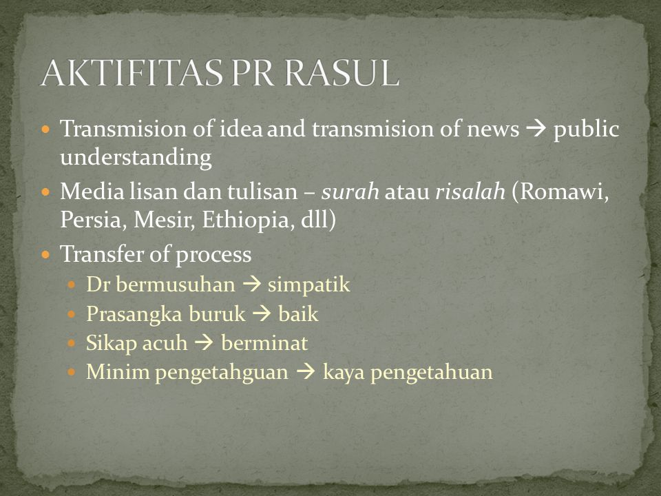 Transmision of idea and transmision of news  public understanding Media lisan dan tulisan – surah atau risalah (Romawi, Persia, Mesir, Ethiopia, dll) Transfer of process Dr bermusuhan  simpatik Prasangka buruk  baik Sikap acuh  berminat Minim pengetahguan  kaya pengetahuan