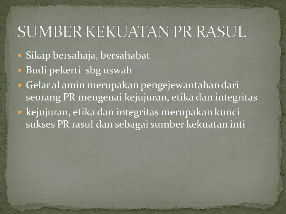 Sikap bersahaja, bersahabat Budi pekerti sbg uswah Gelar al amin merupakan pengejewantahan dari seorang PR mengenai kejujuran, etika dan integritas kejujuran, etika dan integritas merupakan kunci sukses PR rasul dan sebagai sumber kekuatan inti