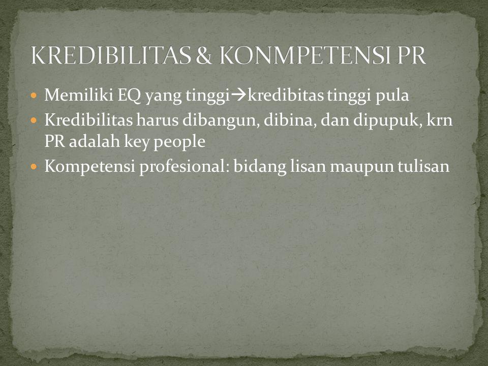 Memiliki EQ yang tinggi  kredibitas tinggi pula Kredibilitas harus dibangun, dibina, dan dipupuk, krn PR adalah key people Kompetensi profesional: bidang lisan maupun tulisan