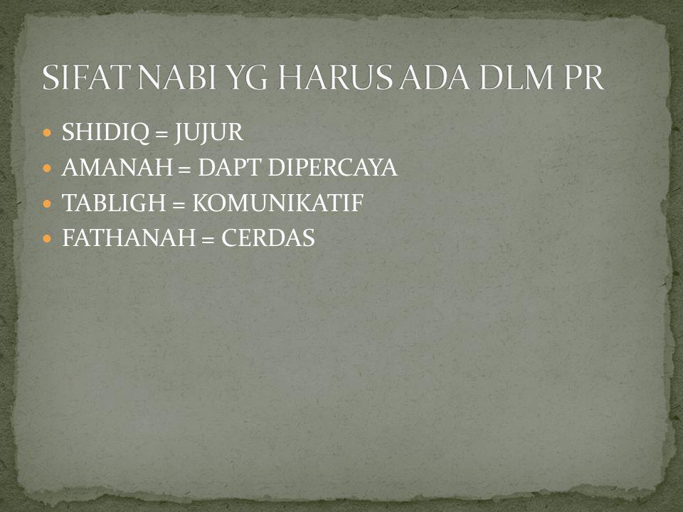 SHIDIQ = JUJUR AMANAH = DAPT DIPERCAYA TABLIGH = KOMUNIKATIF FATHANAH = CERDAS