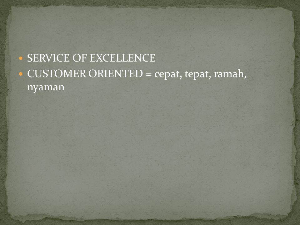 SERVICE OF EXCELLENCE CUSTOMER ORIENTED = cepat, tepat, ramah, nyaman