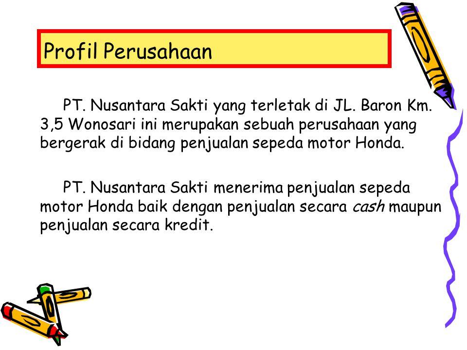 Profil Perusahaan PT. Nusantara Sakti yang terletak di JL. Baron Km. 3,5 Wonosari ini merupakan sebuah perusahaan yang bergerak di bidang penjualan se