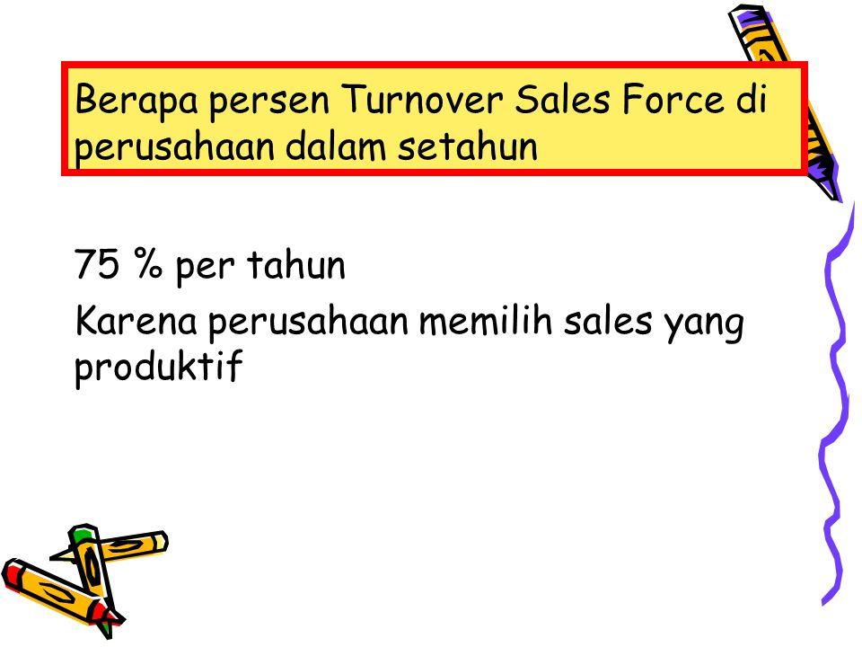 Berapa persen Turnover Sales Force di perusahaan dalam setahun 75 % per tahun Karena perusahaan memilih sales yang produktif