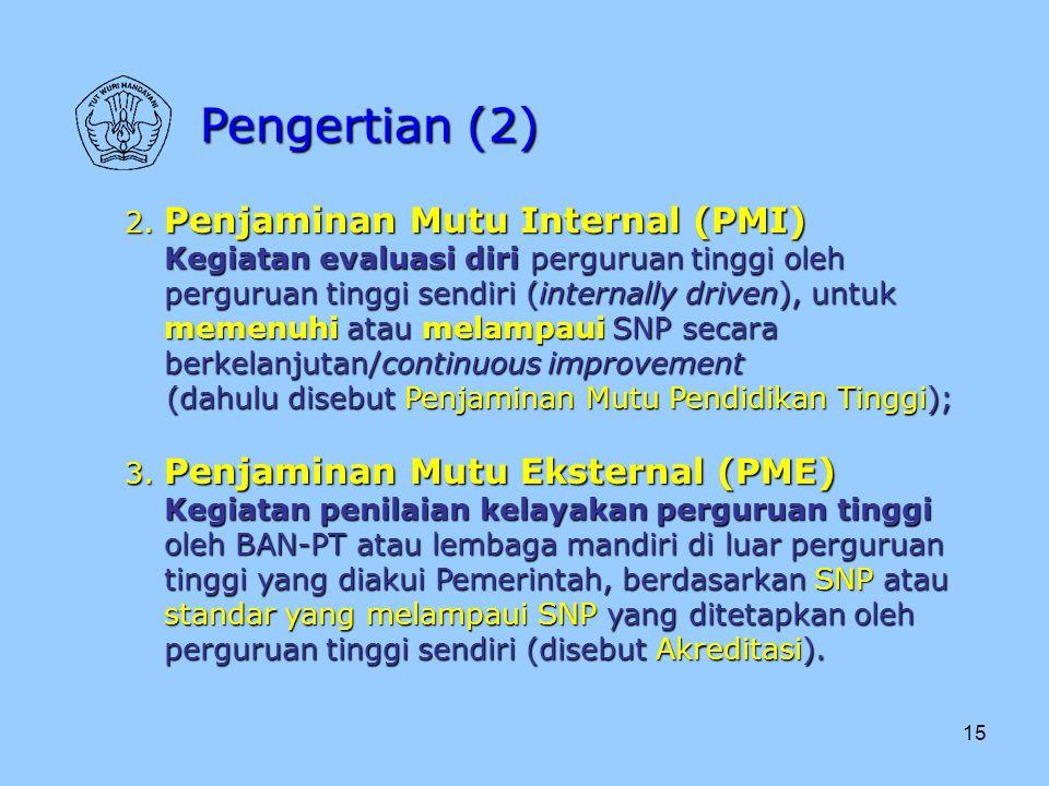 15 2. Penjaminan Mutu Internal (PMI) Kegiatan evaluasi diri perguruan tinggi oleh perguruan tinggi sendiri (internally driven), untuk memenuhi atau me