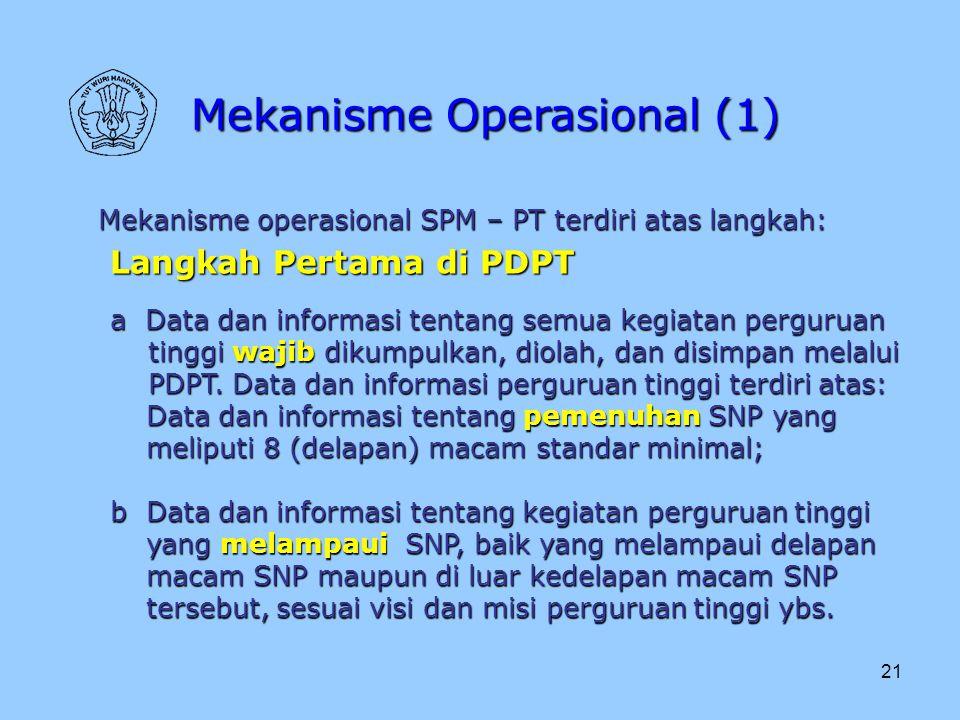 21 Mekanisme Operasional (1) Mekanisme operasional SPM – PT terdiri atas langkah: Langkah Pertama di PDPT a Data dan informasi tentang semua kegiatan