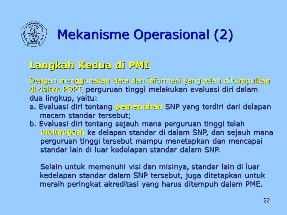 22 Mekanisme Operasional (2) Langkah Kedua di PMI Dengan menggunakan data dan informasi yang telah dikumpulkan di dalam PDPT, perguruan tinggi melakuk