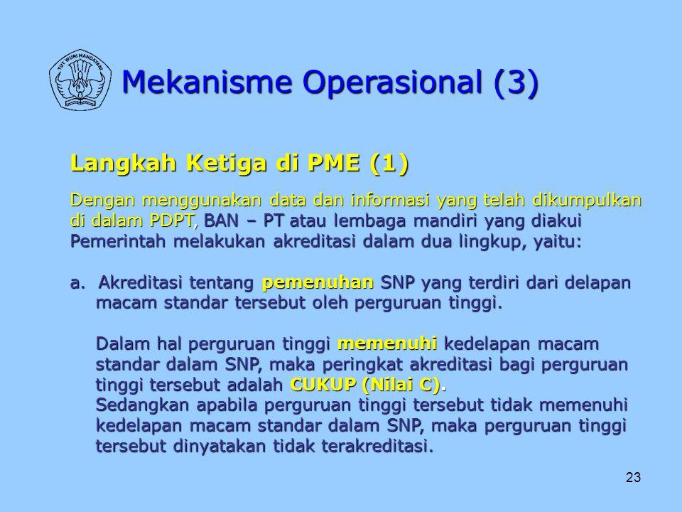 23 Mekanisme Operasional (3) Langkah Ketiga di PME (1) Dengan menggunakan data dan informasi yang telah dikumpulkan di dalam PDPT, BAN – PT atau lemba
