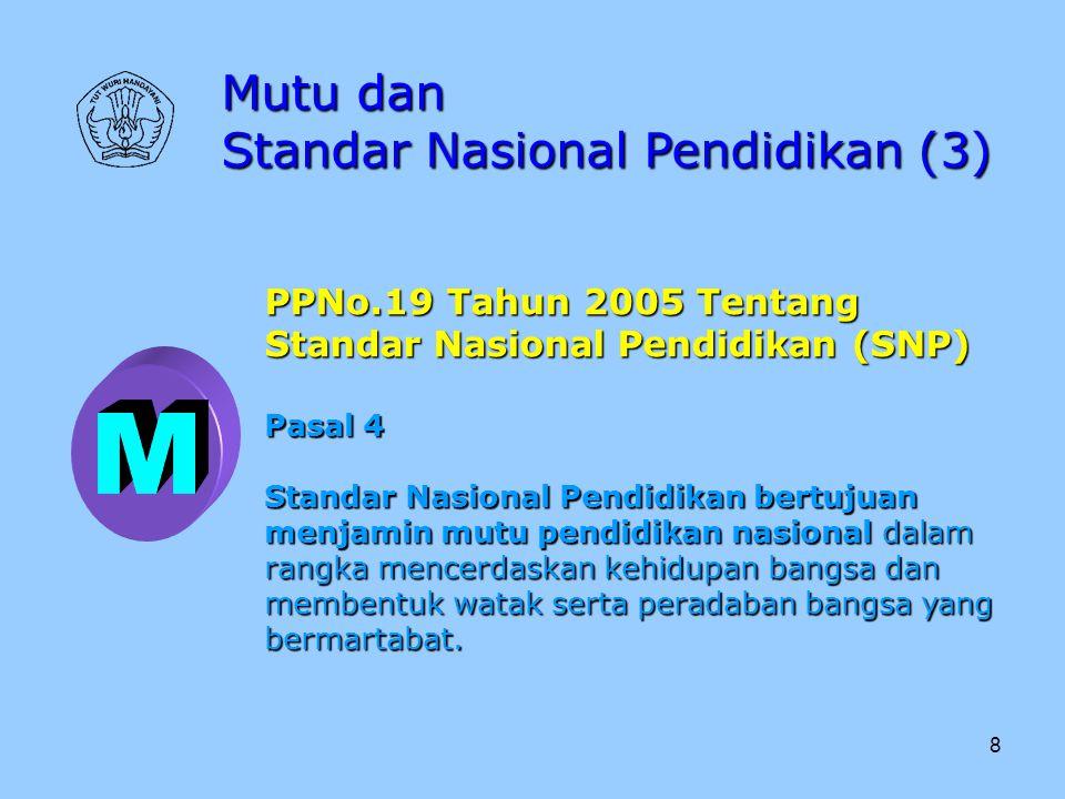8 Mutu dan Standar Nasional Pendidikan (3) PPNo.19 Tahun 2005 Tentang Standar Nasional Pendidikan (SNP) Pasal 4 Standar Nasional Pendidikan bertujuan