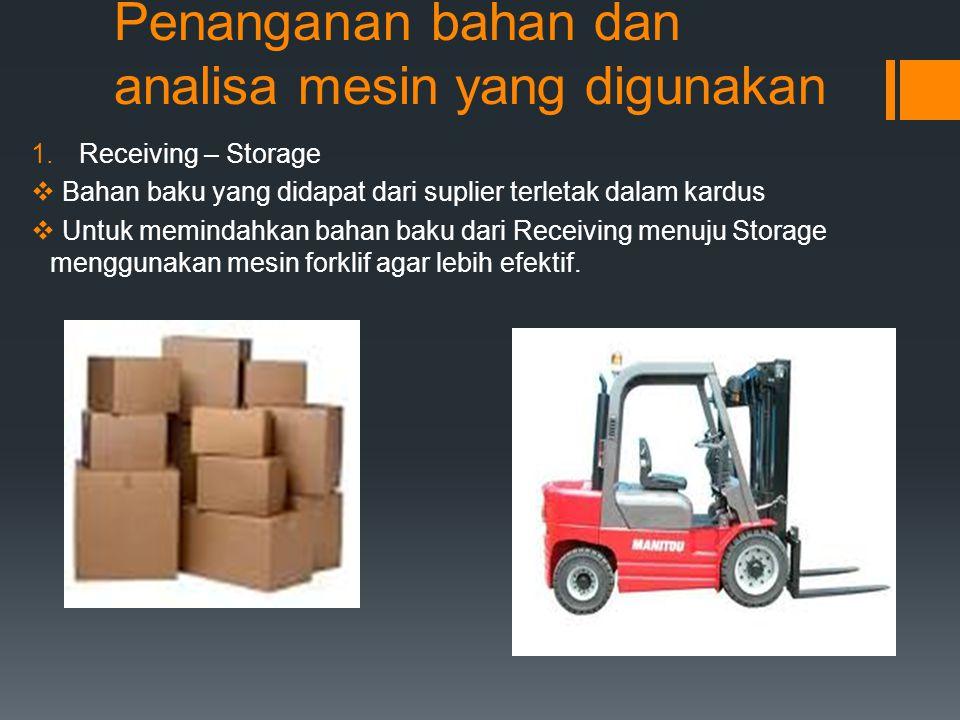 Penanganan bahan dan analisa mesin yang digunakan 1.Receiving – Storage  Bahan baku yang didapat dari suplier terletak dalam kardus  Untuk memindahk