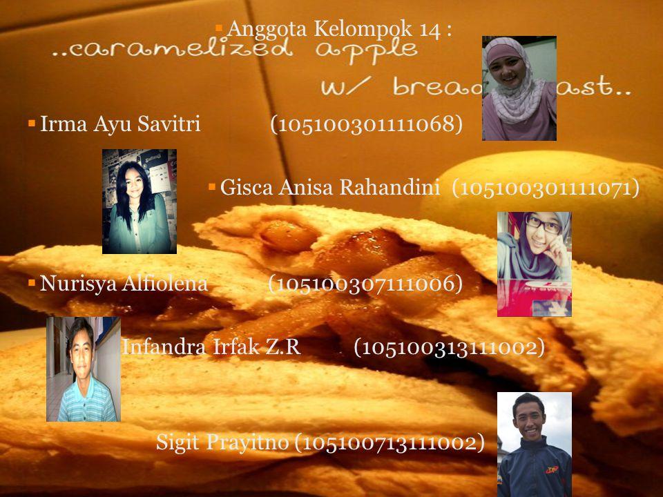  Anggota Kelompok 14 :  Irma Ayu Savitri (105100301111068)  Gisca Anisa Rahandini (105100301111071)  Nurisya Alfiolena (105100307111006) Infandra